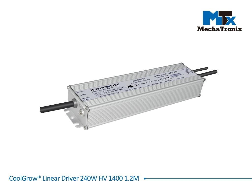 Mechatronix COOLGROW® LINEAR DRIVER 240W HV 1400 1.2M Driver for CoolGrow Linear LED grow light bars - 240 watts - If 1400mA - Input voltage 400/480 - output cable 1.2 meter