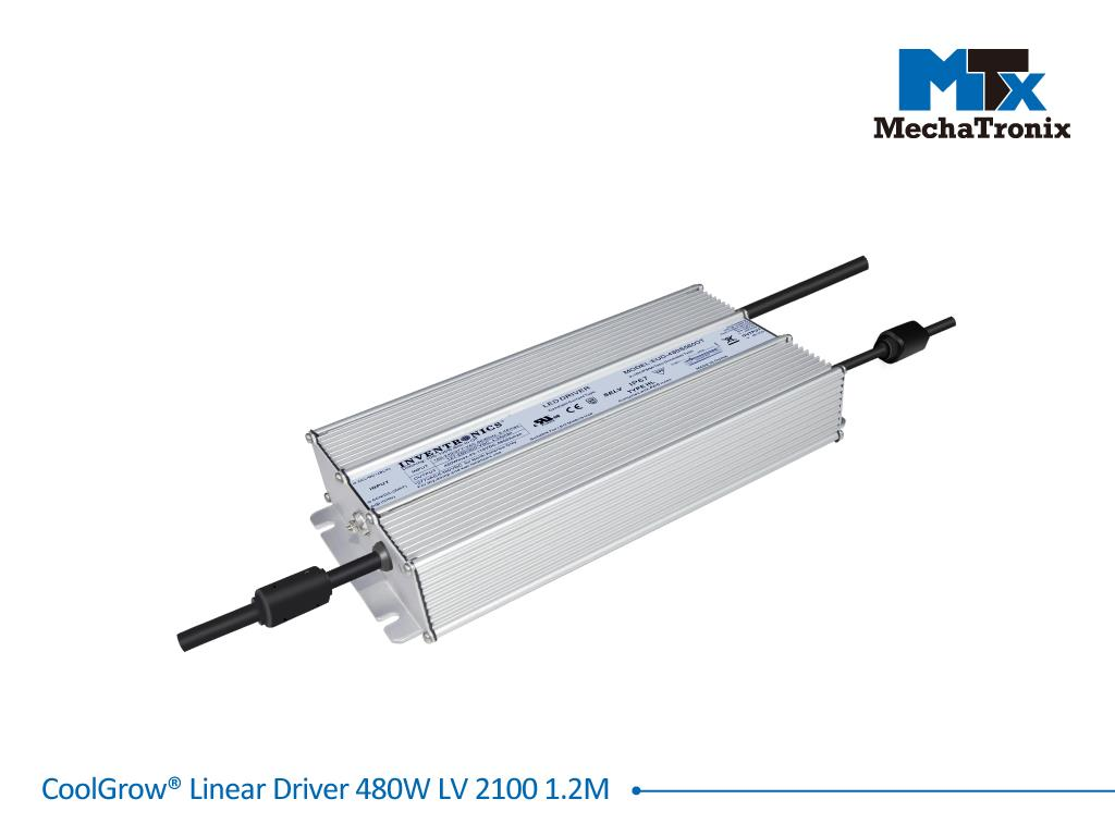 Mechatronix COOLGROW® LINEAR DRIVER 480W LV 2100 1.2M Driver for CoolGrow Linear LED grow light bars - 480 watts - If 2100mA - Input voltage 110/230 - output cable 1.2 meter