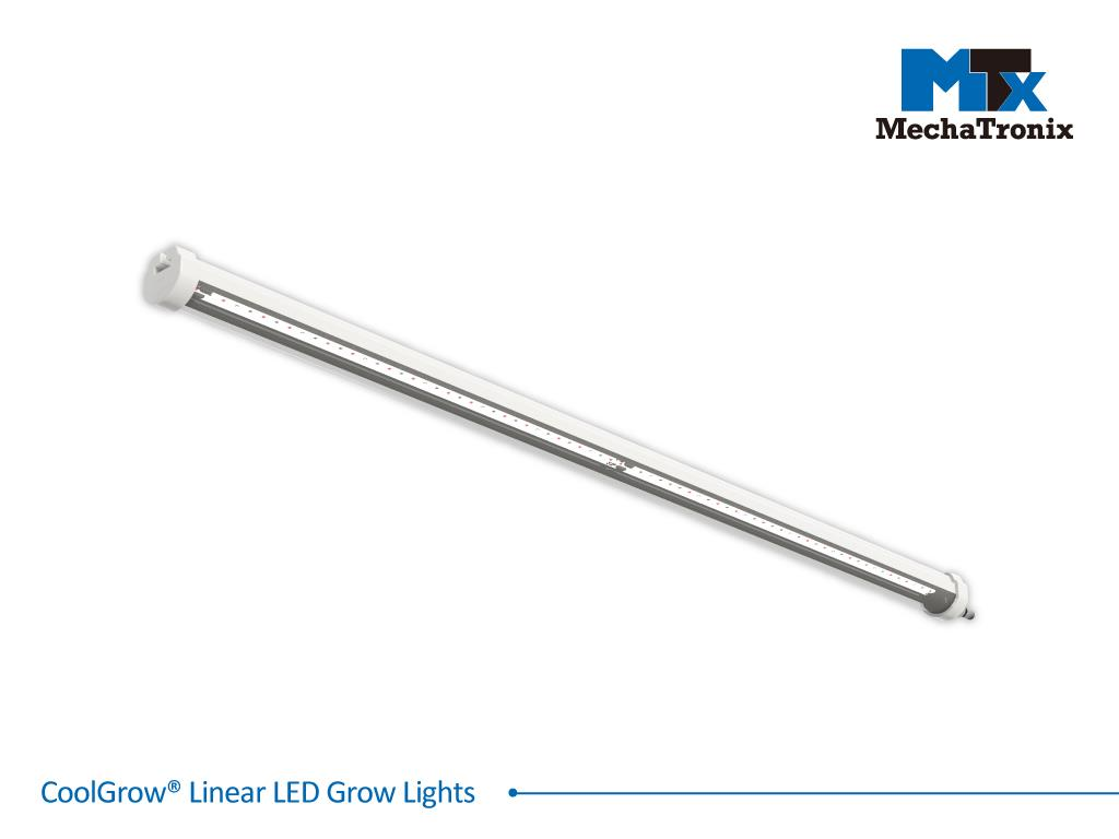 Mechatronix COOLGROW® LINEAR END 40 3RBW 120N LED grow light daisy chain line end bar; 116cm - Pe 29.3 watts - PF 88µmol/s - Light recipe 3RBW 74% Red 18% Blue 8% White - Beam angle 120 degrees - If 1