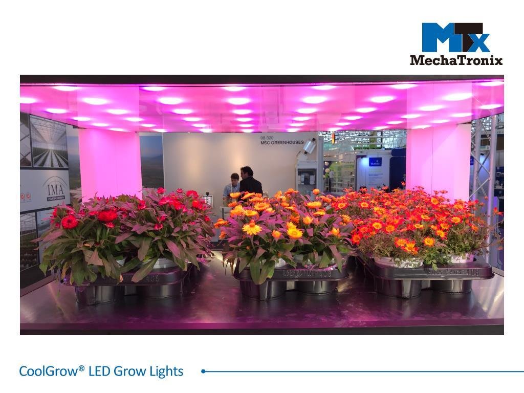 Mechatronix COOLGROW® VF II 120X75 15RB2FR LV BLO Horticulture LED Vertical Farming Grow Light; LED-In-Glass technology; PPF 480µmol/s; 4 channel spectrum controls; Red Blue  Far Red; Panel Size 1.2m