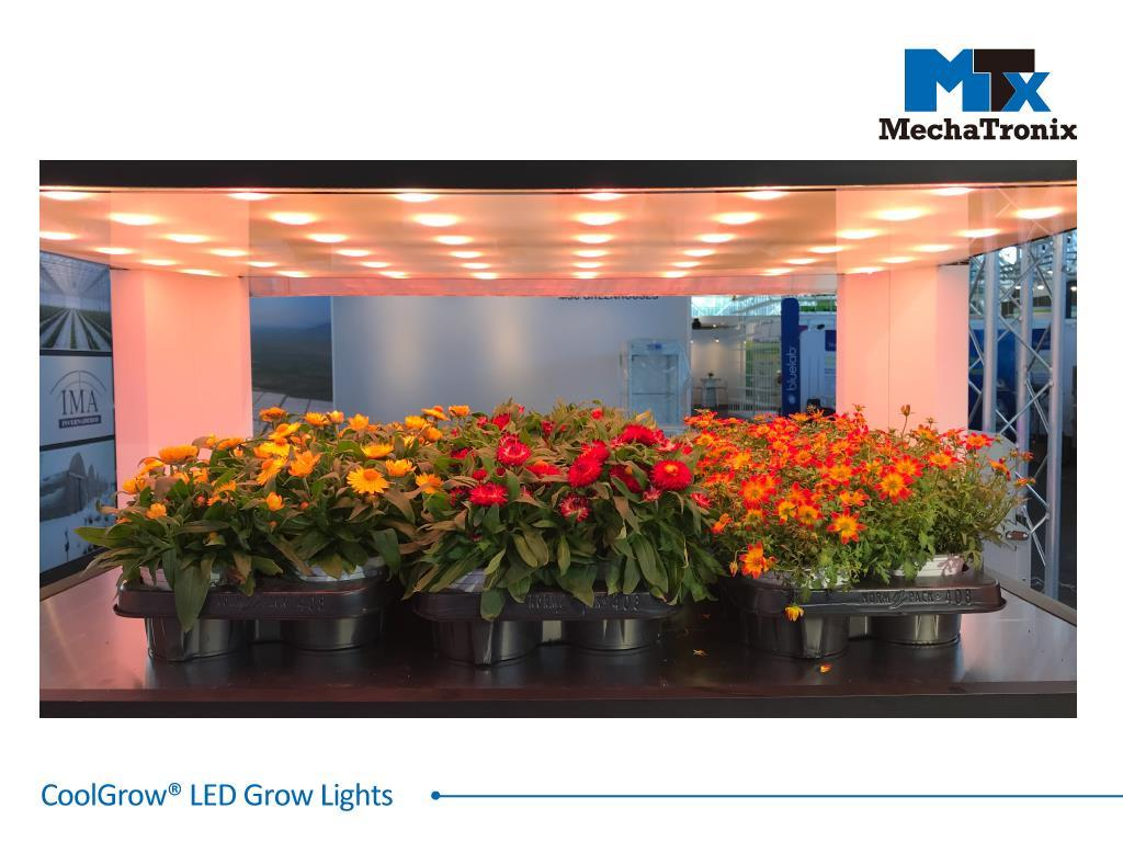 Mechatronix COOLGROW® VF II 120X75 RRBFR LV BLO Horticulture LED Vertical Farming Grow Light; LED-In-Glass technology; PPF 480µmol/s; 4 channel spectrum controls; Red Blue  Far Red; Panel Size 1.2m x