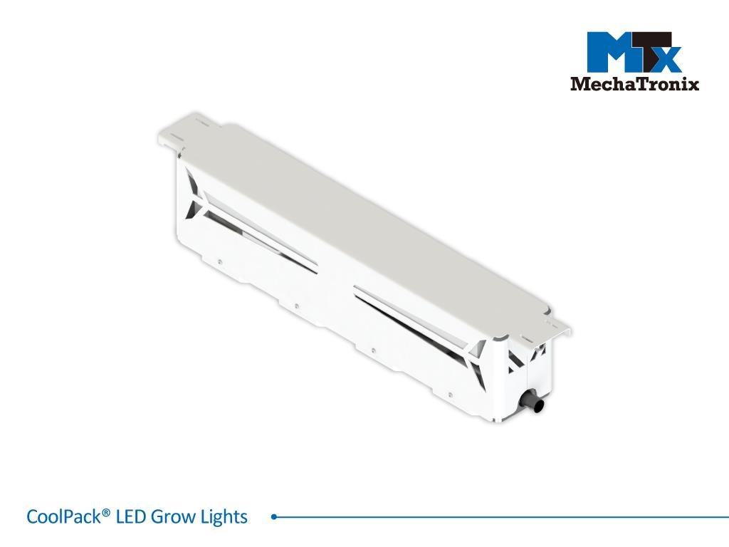 Mechatronix COOLPACK® 4R2B3W 90V7 LV 130BW Horticulture LED Grow Light; Greenhouse; 605Watts; Input 90-305 Vac; PPF 1940µmol/s; Growth Recipe 4R2B3W 67% Red 14% Blue 19% White; 130 Degree Batwing Beam