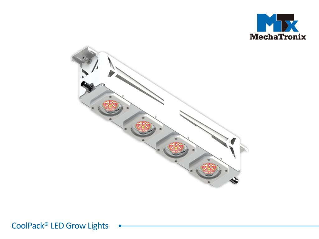 Mechatronix CoolPack® 4R2B3W LE LV 130BW Horticulture LED Grow Light; Greenhouse; 605Watts; Input 90-305 Vac; PPF 1940µmol/s; Growth Recipe 4R2B3W 67% Red 14% Blue 19% White; 130 Degree Batwing Beam