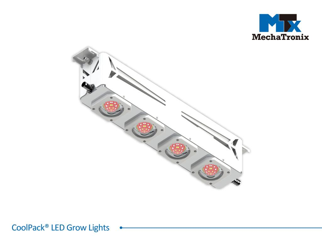 Mechatronix COOLPACK® 4RBW 102V7 HV 105 Horticulture LED Grow Light; Greenhouse; 630Watts; Input 249-528 Vac; PPF 2045µmol/s; Growth Recipe 4RBW 83% Red 13% Blue 4% White; 105 Degree Antiglare Beam