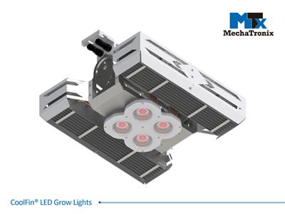 Mechatronix CoolFin® I RRB HV 60 BLO Horticulture LED Top Grow Light; Indoor Cultivation; 600 Watts; Input 249-528 Vac; PPF 1500µmol/s; Growth Recipe - CoolGrow® I RRB 30% Blue 70% Red; 60 Degree Beam