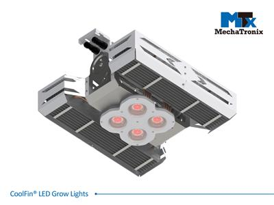 Mechatronix CoolFin® I RRR LV 90 0-10V Horticulture LED Top Grow Light; Indoor Cultivation; 600 Watts; Input 90-305 Vac; PPF 1500µmol/s; Growth Recipe - CoolGrow® I RRR 100% Red; 90 Degree Beam; 0-10V