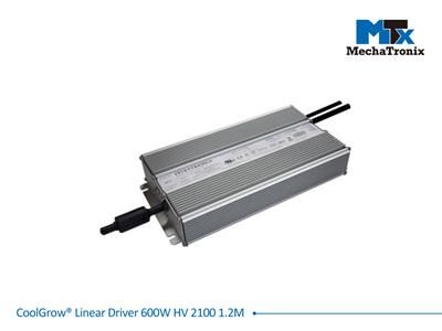 Mechatronix COOLGROW® LINEAR DRIVER 600W HV 2100 1.2M Driver for CoolGrow Linear LED grow light bars - 600 watts - If 2100mA - Input voltage 400/480 - output cable 1.2 meter
