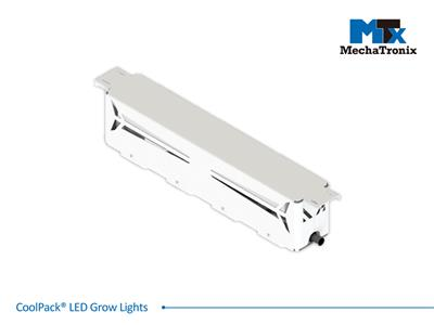 Mechatronix COOLPACK® 4RBW 90V7 LV 130BW Horticulture LED Grow Light; Greenhouse; 558Watts; Input 90-305 Vac; PPF 1810µmol/s; Growth Recipe 4RBW 82% Red 14% Blue 4% White; 130 Degree Batwing Beam