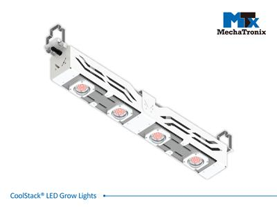 Mechatronix CoolStack® 4RBW HO LV 105 Horticulture LED Grow Light; Greenhouse; 630Watts; Input 90-305 Vac; PPF 2045µmol/s; Growth Recipe 4RBW 83% Red 13% Blue 4% White; 105 Degree Antiglare Beam