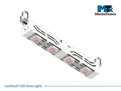 Mechatronix CoolStack® 5RB BOOST II HV HC Horticulture LED Grow Light; Greenhouse; 900Watts; Input 249-528 Vac; PPF 2950µmol/s; Growth Recipe 5RB 94% Red 6% Blue; Assymetric Beam