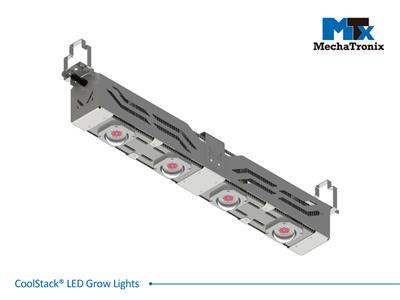 Mechatronix CoolStack® I RRB HV 120BW BLO Horticulture LED Top Grow Light; Greenhouse + Indoor Cultivation; 600 Watts; Input 249-528 Vac; PPF 1500µmol/s; Growth Recipe - CoolGrow® I RRB 30% Blue 70% R