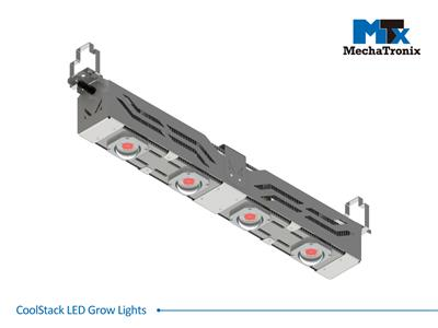 Mechatronix CoolStack® I RRR HV 60 BLO Horticulture LED Top Grow Light; Greenhouse + Indoor Cultivation; 600 Watts; Input 249-528 Vac; PPF 1500µmol/s; Growth Recipe - CoolGrow® I RRR 100% Red; 60 Degr